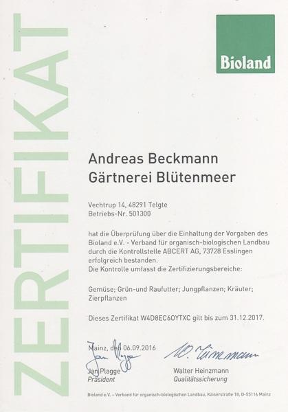 Bioland Zertifikat für 2017