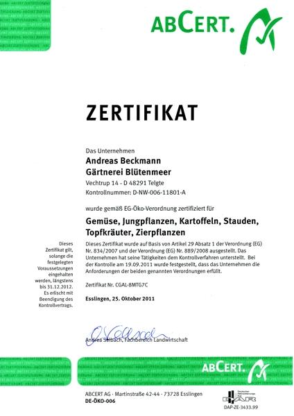 Zertifikat für ökologisch erzeugte Lebensmittel