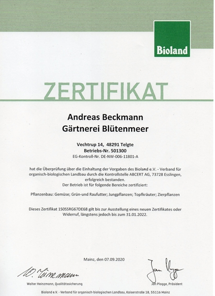 Bioland Zertifikat 2021